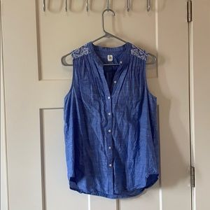 Denim embroidered tank top